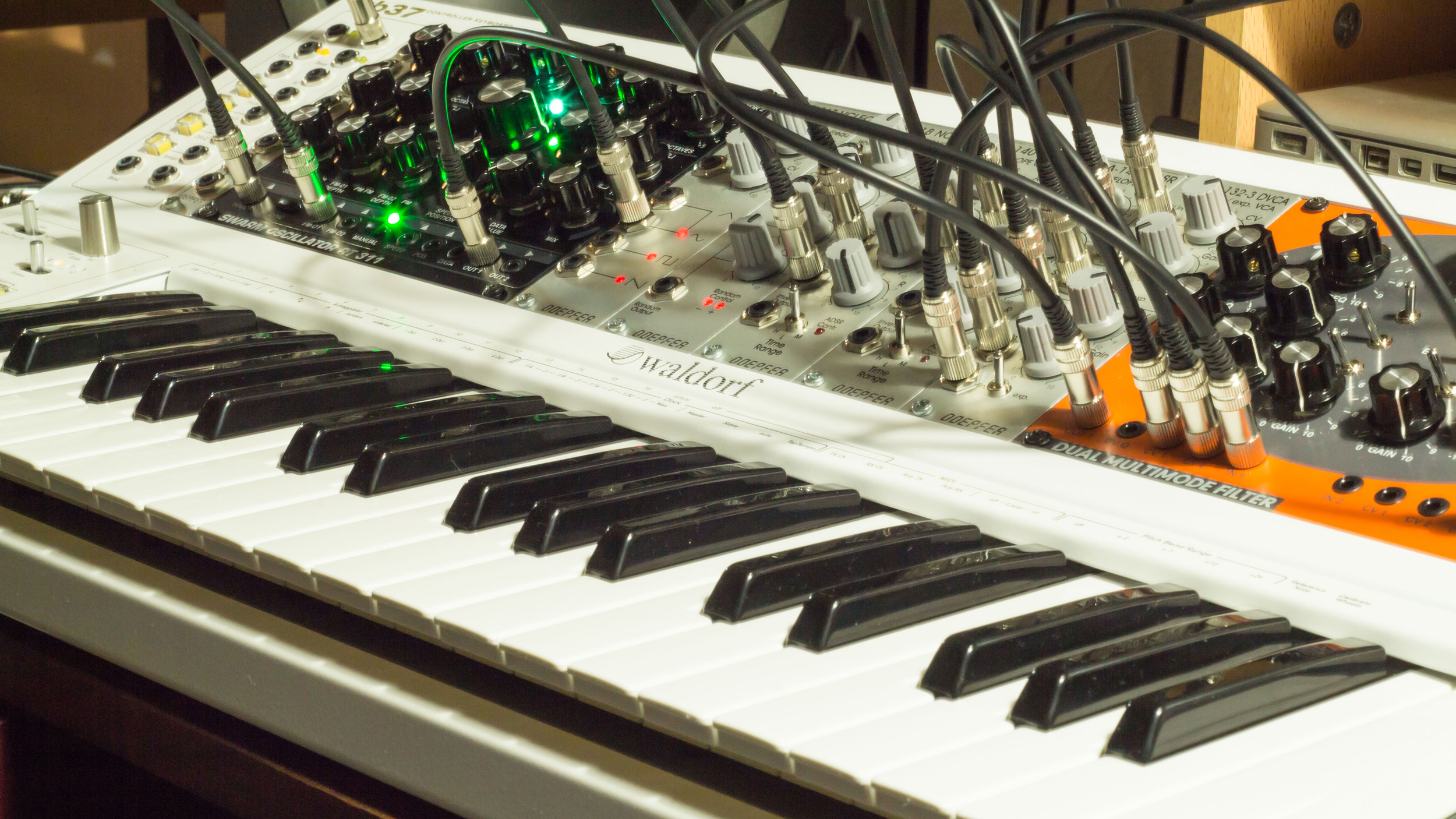 Radikal Technologies Eurorack Synthesizer Modules and the KB-37 Eurorack keyboard.